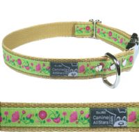 DOG COLLAR - PINK AND FUSCIA FLOWER MEADOW ON APPLE GREEN